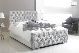 5ft Bed Frame Florida Upholstered Silver Crush Velvet Bed Frame In Different