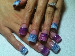 purple and blue with netting nail gallery