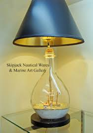 Yellow Table Lamp Vintage Ship In A Bottle Nautical Table Lamp Skipjack Nautical Wares