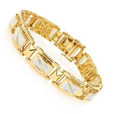 bracelet gold man silver images Yellow gold plated silver diamond bracelet for men 0 50ct jpg