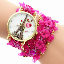 pink bracelet watches images 2016 lace bracelet watch cartoon girls rose flower eiffel tower jpg