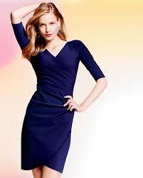 la petite robe di chiara boni fauxwrap cocktail dress navy in blue