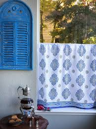 Moroccan Inspired Curtains White Blue Curtain Kitchen Curtains Vintage Curtain Sheer