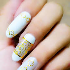 Nail Art Lace Design 2017 1 Sheet 3d Metallic Gold Flower Lace Line Picture Nail