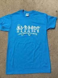 cartoon design t shirt sapphire blue w white ink 2 stickers