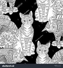 high detail seamless pattern pets zentangle stock vector 444378889