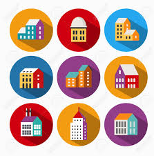 urban icons with shadow different houses royalty free cliparts