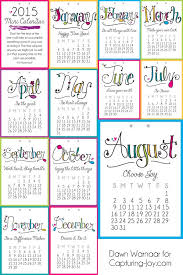 printable calendar year 2015 2015 printable mini calendar capturing joy with kristen duke