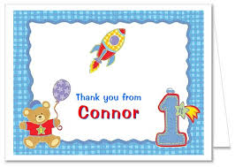 1st birthday boy hugs and stitches 1st birthday boy thank you note cards