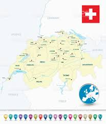Europe Outline Map by Switzerland Outline Map With Bubble Map Markers Stock Vector Art