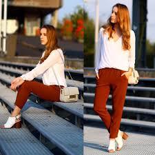 H M Draped Blouse Soumaya H U0026m White Draped Blouse H U0026m Brown Trousers H U0026m Grey