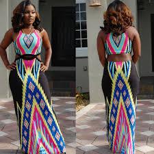 women slim bandage sleeveless african print dresses for women