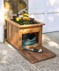 wooden pencil holder plans diy pallet wood hose holder with planter diycandy com