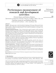 hã ngelen design performance measurement of research and development activities