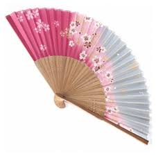 japanese fans fan silk and bamboo pink grey