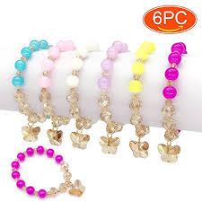 beaded bracelet girl images Elesa miracle 6pc little girl teens kids butterfly pendant beaded jpg