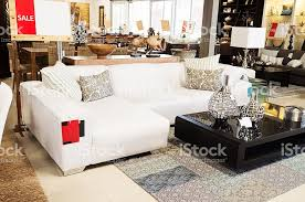 couch on sale at upmarket home decor outlet stock photo 155151577