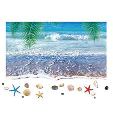 popular shells wall stickers buy cheap shells wall stickers lots new removable coconut tree beach shell mural window wall stickers 3d holiday decal wall beach sticker