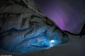 northern lights jasper national park the incredible moment glacier climbers were illuminated by the