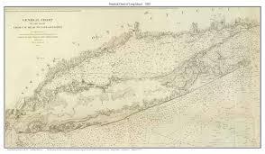 Long Island New York Map by Long Island 1852 Nautical Map New York Custom Reprint This