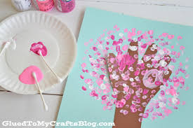 q tip painted handprint cherry blossom tree kid craft glued to