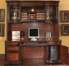 Computer Desk With Hutch by Wooden Two Tone Finish Credenza Computer Pc Office Desk