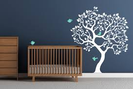 wall decal white tree sticker mint birds baby nursery tree zoom