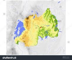 Rwanda Map Rwanda Physical Vector Map Colored According Stock Vector 24844822