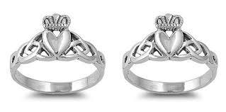 claddagh wedding ring set 2 handcast silver celtic claddagh wedding promise rings ring
