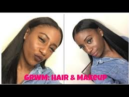 short mid hair pushed behind ears grwm sleek middle part dark lippie youtube