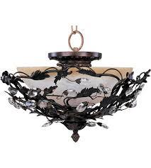 Bronze Semi Flush Ceiling Light by Maxim 2859oi Elegante 3 Light 17 Inch Oil Rubbed Bronze Semi Flush