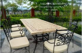 Marble Patio Table 160 200 240cm Italian Mosaic Marble Outdoor Patio Table Wrought