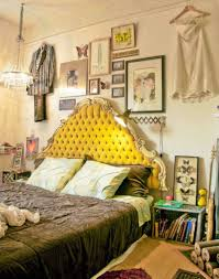 shabby chic bedroom decorating ideas with tufted yellow curved