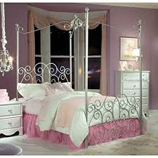 amazon com standard furniture princess canopy bed in silver metal