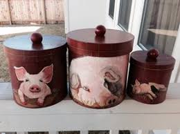 pig kitchen canisters pig canisters s pig pen and flamingo flock