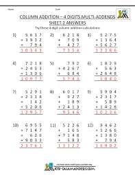 4th grade subtraction worksheets level 4 math printable column