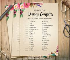 disney couples match game printable boho bridal shower love