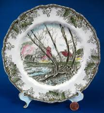 johnson brothers friendly salad plate willow by the brook