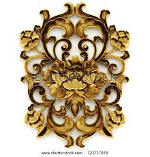 3d illustration stucco moldings gold ceiling stock illustration