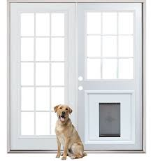 Patio Door With Pet Door Built In Cool So Much Nicer Than Sliding Glass Doors Patio Back