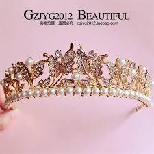 the new 2016 vintage gold leaf crown princess hair pearl