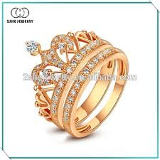 crown wedding rings 2she gold plated princess crown engagement rings buy princess