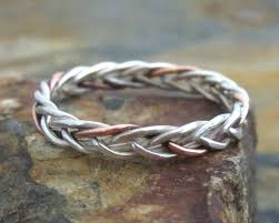 braided ring sterling silver copper braided ring 5 strand braided band