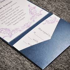 pocket invitations beautiful purple vines blue pocket wedding invitations iwps052
