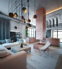 modern apartment decor with industrial and warm color theme