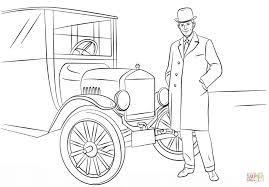 henry ford and model t car coloring page free printable coloring
