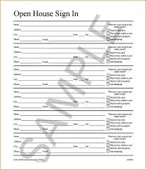 sample open house sign in sheet template open house sign in sheet