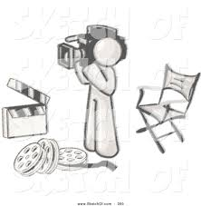 drawing of a sketched design mascot camera man filming and