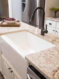 Farmhouse Kitchen Faucets Sinks Cottage Kitchens Style Brown Cabinets Undermount Stainless