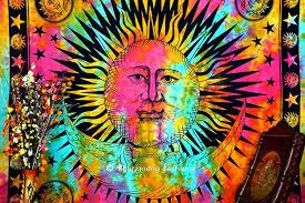 amazon com indian psychedelic celestial sun moon stars tie dye